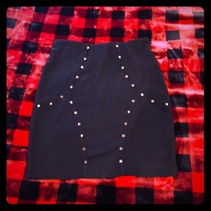 Mustard Seed spiked / studded black mini skirt